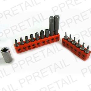 16Pc-TORX-BIT-SET-Inc-Drive-Adaptor-Security-Tamperproof-T10-T50-Star-T5-T9