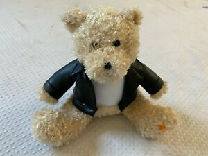 REESE'S SOFT PLUSH BEAR WITH FAUX LEATHER JACKET 7 INCHES SITTING POSITION
