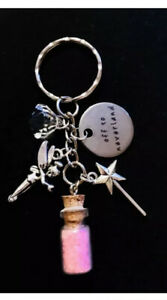 Peter Pan Inspired keyring Peter Pan Think Happy Thoughts crystals key chain