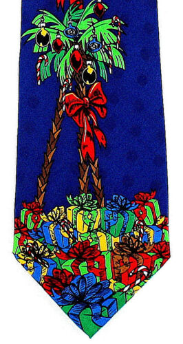 Christmas Palm Tree Mens Silk Necktie Holiday Neck Tie Tropical Xmas Gift