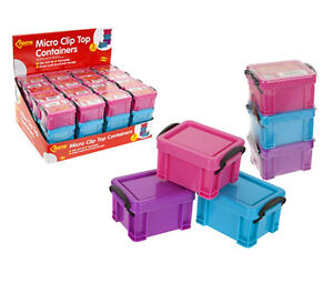 MINI SOLID COLOUR BOX SET CLIP LOCK STORAGE CONTAINERS GREAT FOR