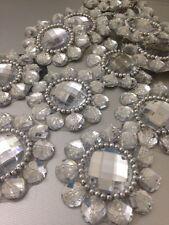 Silver Rhinestone Applique,Motif,edging,trim,sequins,beads 1 X (5.4 cm Approx)