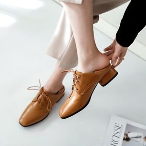 Womens-Block-Low-Heels-Square-Toe-Lace-Up-Oxfords-Chunky-Casual-Low-Top-Shoes-Sz