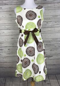 Jessica-Howard-Women-039-s-Ivory-Brown-Green-A-Line-Sleeveless-Dress-Size-8