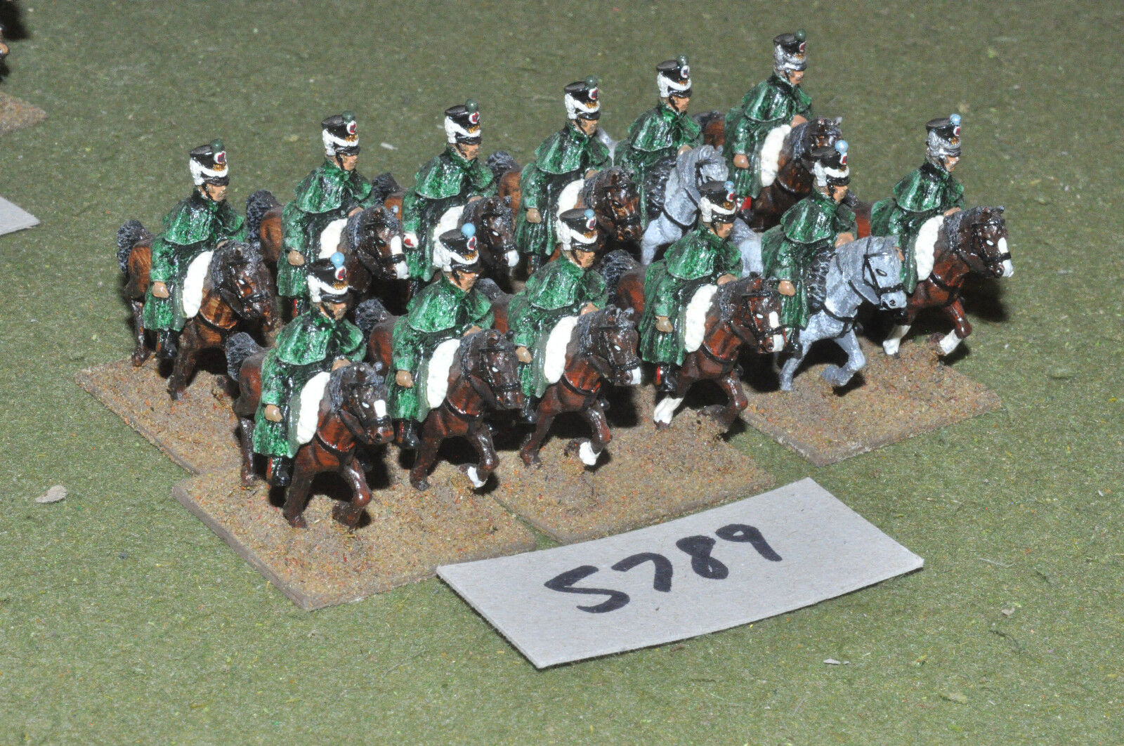 25mm napoleonic   generic - light cavalry 12 cavalry metal painted - cav (5789)