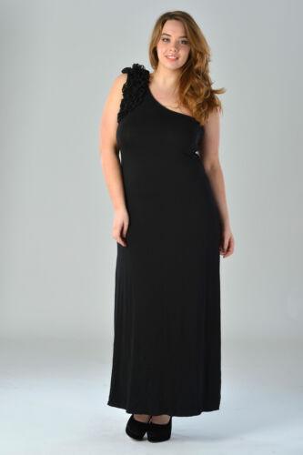 Womens Plus Size Black Maxi Dress One Shoulder Ruffle Ladies Brand New Sz 16-26