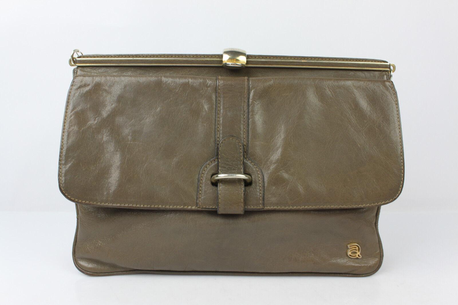 508b6cfdd4713 VINTAGE Clutch Clutch Clutch Tasche ANDRE Leder Taupe SEHT GUTER ZUSTAND
