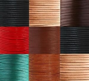 Real-Round-Leather-Cord-100-Genuine-1-2-3-4-5-6mm-Black-Brown-Natural