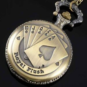 Pocket-Watch-Spring-Cover-Royal-Flush-Antique-Stainless-Steel-Chain-Poker
