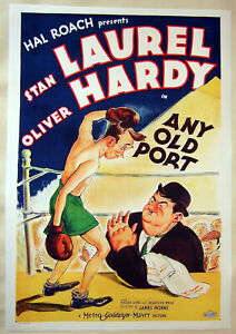 XL-HiQ-Facsimile-1932-Any-Old-Port-Movie-Poster-Laurel-amp-Hardy-36x24-Boxing