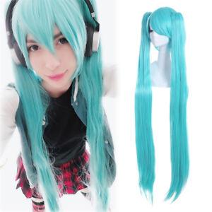 Nunubee Doppia Coda Hatsune Miku Parrucca da Donna Parrucche Sintetiche del Partito di Cosplay Gradiente Verde