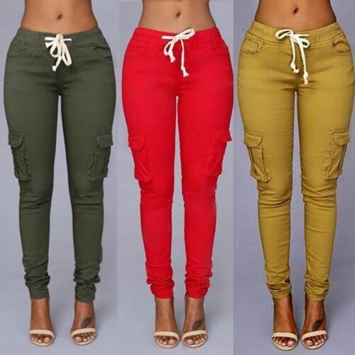 Damen Pocket Tasche Hose Stretch Drawstring High Waist Freizeithose Stoffhose HJ