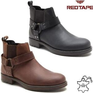 Details about Mens Leather Ankle Cowboy Biker Boots New Chelsea Western Riding Harness Shoes
