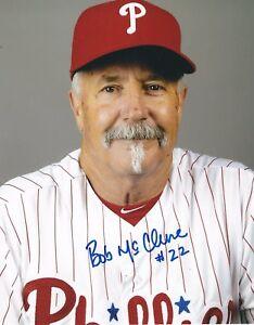 Signed  8x10 BOB MCCLURE  Philadelphia Phillies Autographed photo - COA