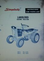 Simplicity Landlord Tractor, Plow & Snow Thrower Owner & Parts (3 Manuals) 1963