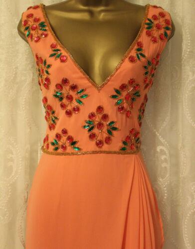 Virgos Lounge Peach Wrap Embellished Boho Maxi Occasion Party Dress UK 10 /& 12