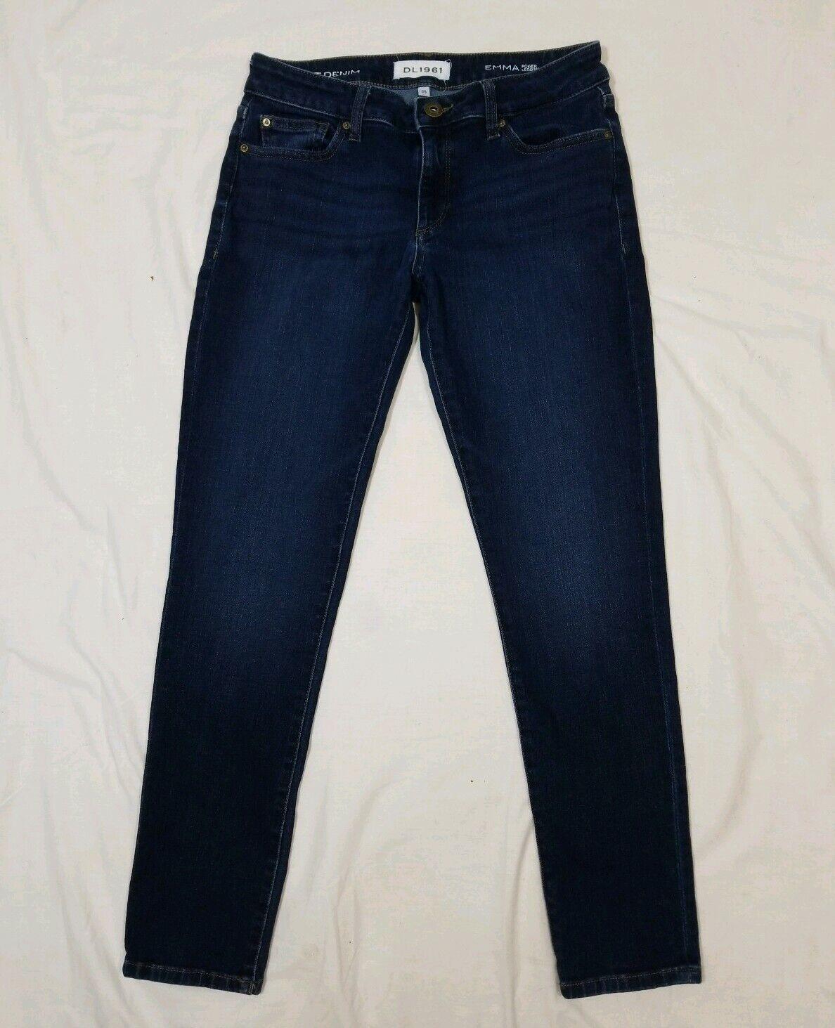 DL 1961 Dark Wash Smart Denim Emma Power Leggings Skinny Stretch Jeans 29x28.5