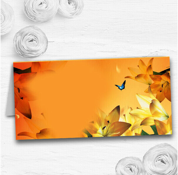 Orange Lily Flower Wedding Table Seating Name Place Cards