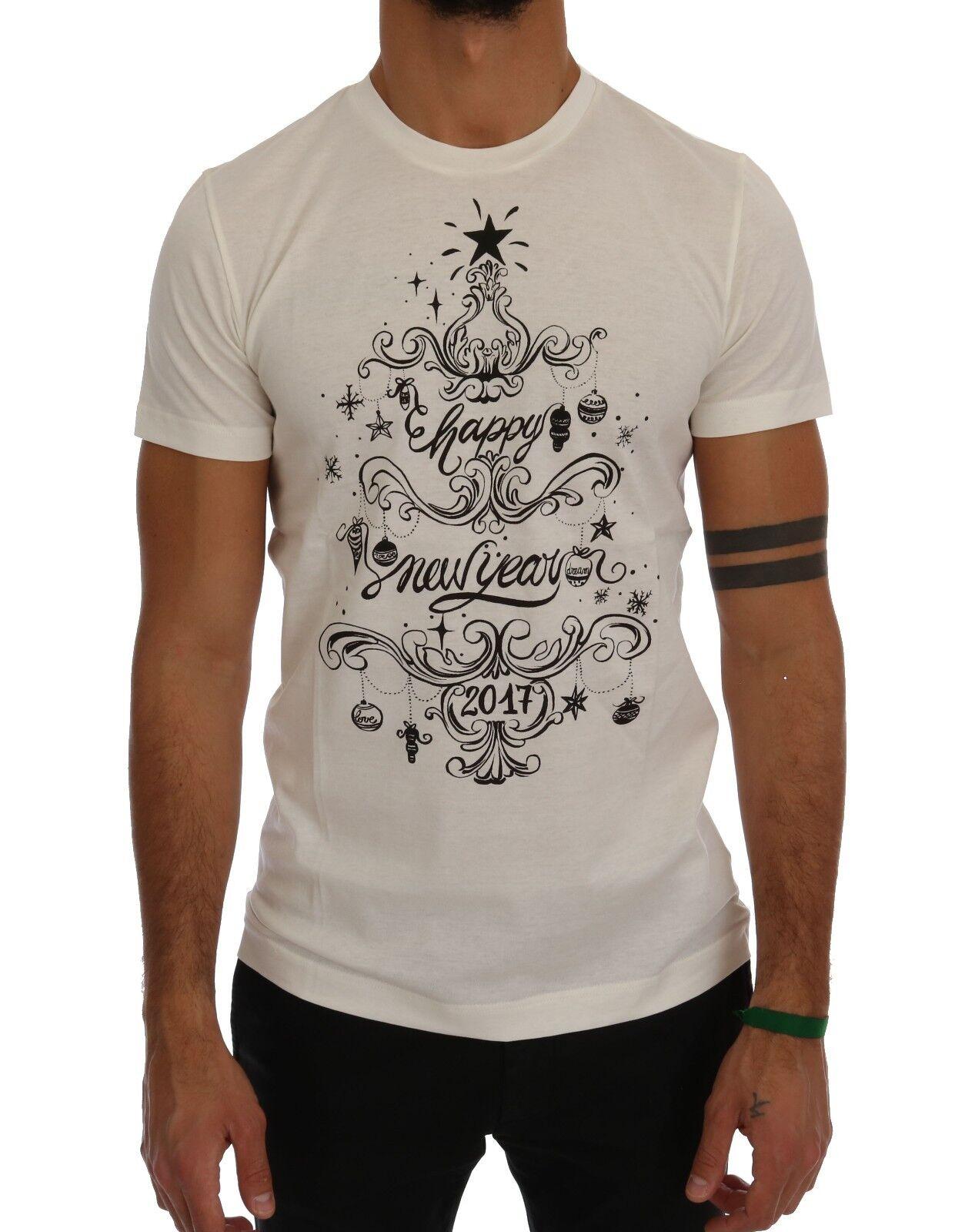 Nuevo Dolce & Gabbana Camiseta Cuello ROTondo 2017 Motive Impresión Algodón