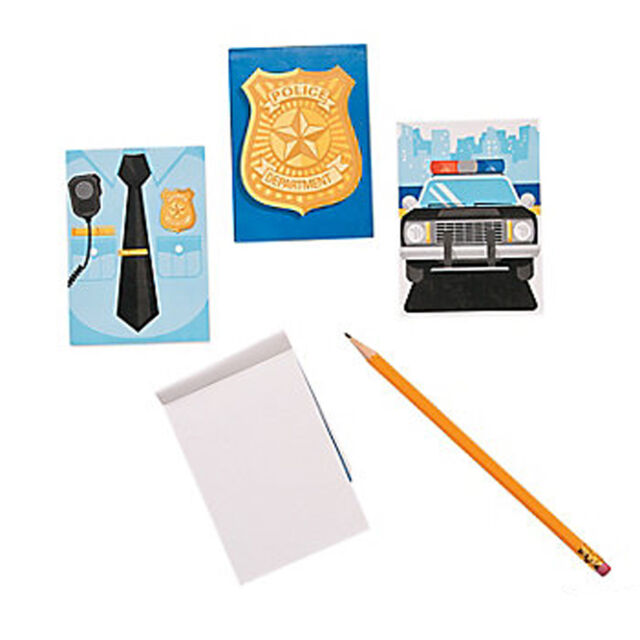 Police Party Notepads Notebooks Badge Uniform Car Favours Pack of 6 Free Post