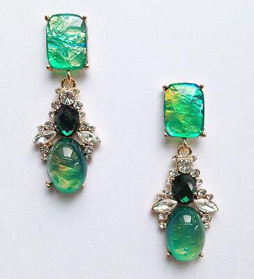 ANTHROPOLOGIE BEAUTIFUL OPAL GREEN DROP DANGLE EARRINGS - NEW