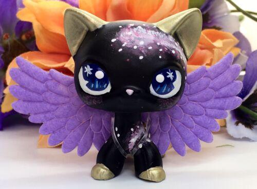 Littlest Pet Shop Cute Black Short Hair Purple GALAXY  KITTY Cat Ooak Custom