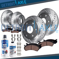 4WD/AWD 2000-2006 Yukon Tahoe Front Rear DRILLED Brake Rotors + DUAL Piston Pads