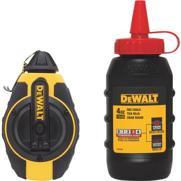(3)-DeWalt 100' Chalk Line Reel & 4 Oz Bottle Red Chalk DWHT47374L