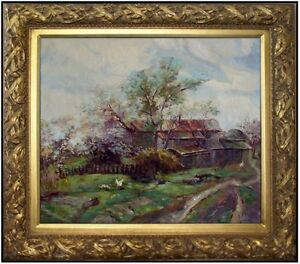 Framed-A-Farmyard-View-Quality-Hand-Painted-Oil-Painting-20x24in