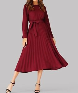 Round-Neck-Long-Sleeve-Belted-Pleated-A-Line-Fit-and-Flare-Dress-Casual-Work