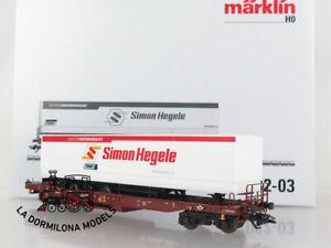 CS46-AC-MARKLIN-47082-03-Wagen-bestehend-aus-Tragwagen-der-Bauart-Sdgkms-707-DB