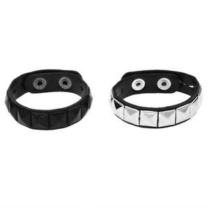 2X-Niet-Niet-Punk-Pyramide-verzierte-kuenstliches-Leder-Armband-Wristband-C2Y9