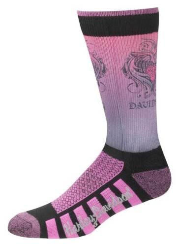 Pink D89098570-651 Harley-Davidson Womens Cushioned Wool Ride Socks
