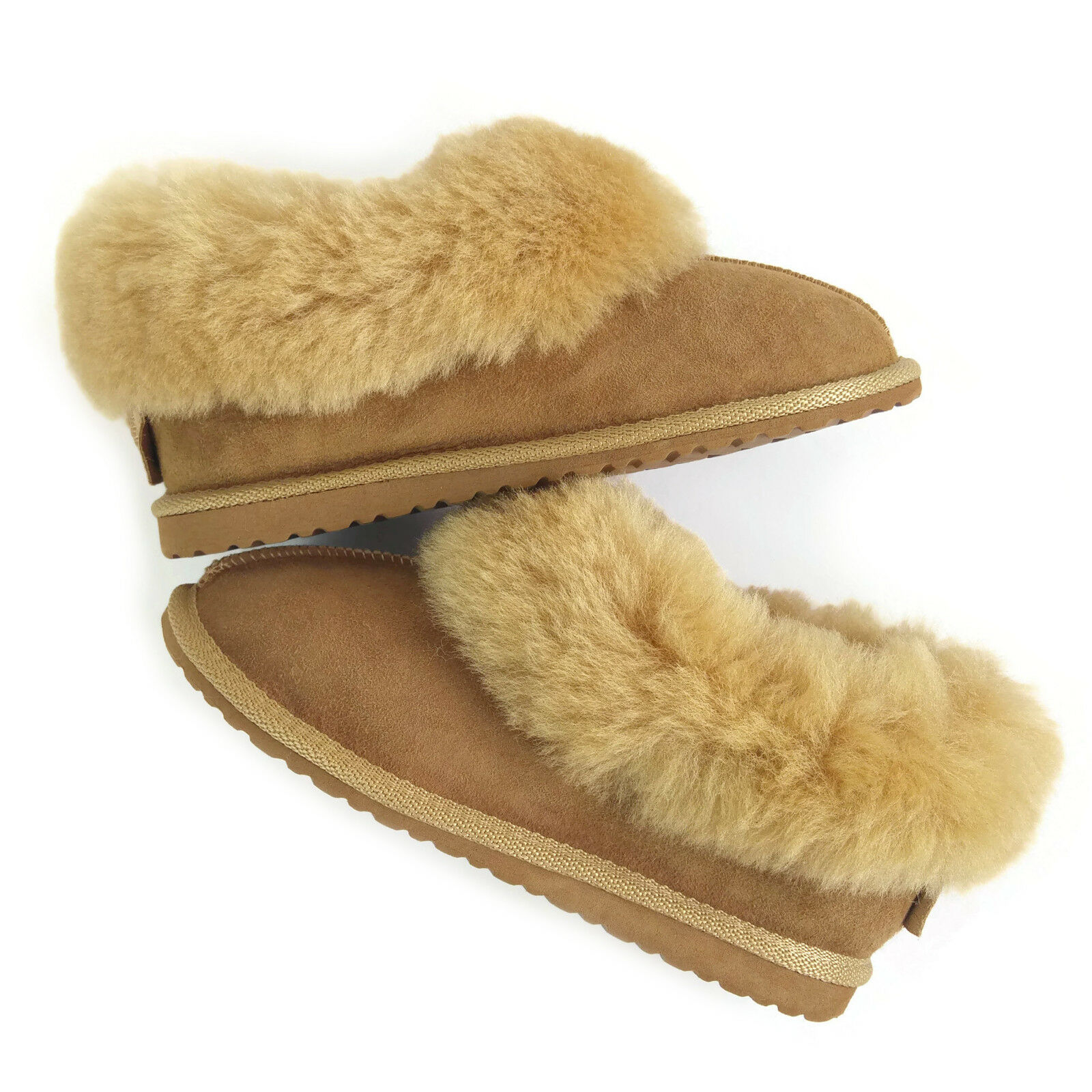 Classic Woman's Golden Beige 100% Real Sheepskin Fur Slippers Gift Box & Gift Slippers Bag 73b324