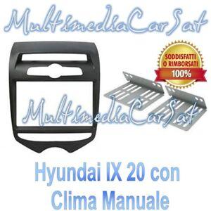 Mascherina-Autoradio-Adattatore-Kit-Doppio-Din-Hyundai-i-20-ix-20-Clima-Manuale