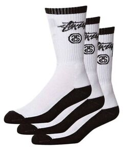 Stussy-Socks-Stock-Crew-3-Pack-Black-White-Size-OSFM-New-Skateboard-Sox