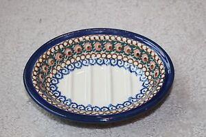 Polish Pottery Soap Dish Bath Access Ceramika Artystyczna Blue Green