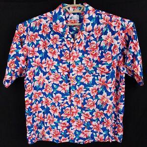 Vtg-Islander-Red-Pink-amp-Blue-Floral-Rayon-Short-Sleeve-Hawaiian-Shirt-Mens-XL