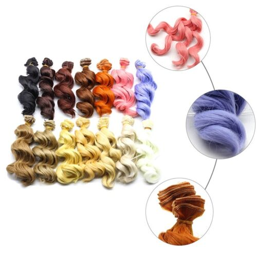 DIY Colorful Ombre Curly Wave Doll Wigs Synthetic Hair For Dolls