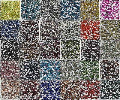 High Quality Machine Cut Foiled Crystal Glass Rhinestones Flat Back Non Hot Fix