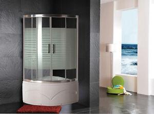 box doccia cabina con vasca doccia vetro serigrafato 110x110x210 ... - Arredo Bagno Box Doccia