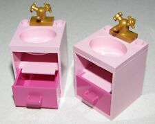 LEGO 2 PINK BATHROOM SINK SET UPS PINK TOP CUPBOARD AND GOLD FAUCET