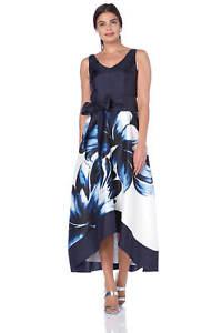 Roman-Originals-Women-039-s-Blue-Floral-Placement-Maxi-Dress-Sizes-10-20