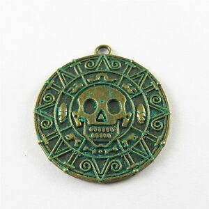 Green-Bronze-Alloy-42-38-2mm-Skull-Pattern-Charms-Pendants-Crafts-5pcs-52261