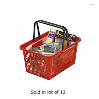 Count Of 12 Red Individual Shopping Basket With Break-resistant Plastic Handles