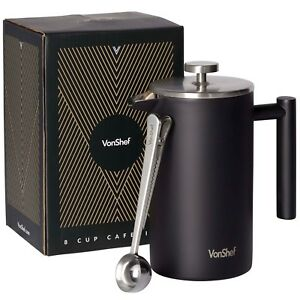 VonShef-34oz-12-Cup-Stainless-Steel-French-Press-Cafetiere-amp-2in1-Coffee-Spoon