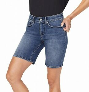 NYDJ Womens Ella Denim Bermuda Shorts Blue Size 2 High Waist Stretch $69 655