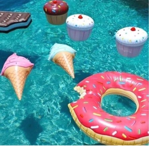 Swim Ring Water Ice Cream Inflatable Swimming Pool Toys Float Funny Kids Summer