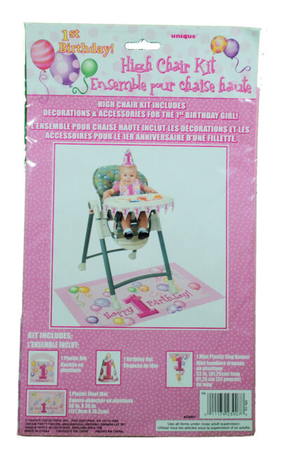 1ST FIRST BIRTHDAY Party Supplies 4 Piece HIGH CHAIR KIT GIRL PINK DECORATION