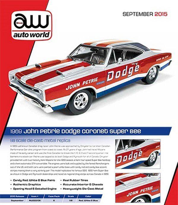 AUTO WORLD 1:18 SUPER CAR CLINIC 1969 DODGE SUPER BEE - JOHN PETRIE Diecast Car
